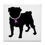 Pug Breast Cancer Support Tile Coaster