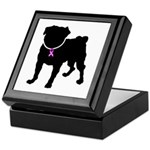 Pug Breast Cancer Support Keepsake Box