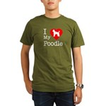 I Love My Poodle Organic Men's T-Shirt (dark)