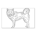 Siberian Husky Outline Sticker (Rectangle)