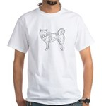 Siberian Husky Outline White T-Shirt