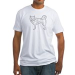 Siberian Husky Outline Fitted T-Shirt