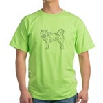Siberian Husky Outline Green T-Shirt
