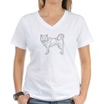 Siberian Husky Outline Women's V-Neck T-Shirt