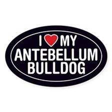 I Love My Antebellum Bulldog Oval Sticker/Decal