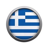 "Round Flag - Greece 3.5"" Button"
