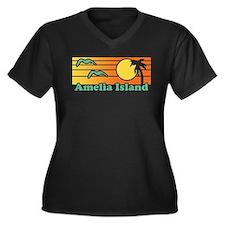 Amelia Island Women's Plus Size V-Neck Dark T-Shir