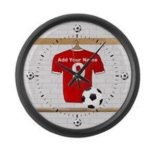 Red Customizable Soccer footb Large Wall Clock