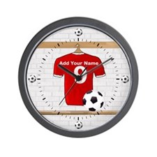 Red Customizable Soccer footb Wall Clock