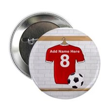 "Red Customizable Soccer footb 2.25"" Button"
