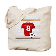 Red Customizable Soccer footb Tote Bag