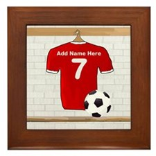 Red Customizable Soccer footb Framed Tile