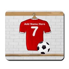 Red Customizable Soccer footb Mousepad