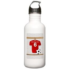 Red Customizable Soccer footb Sports Water Bottle