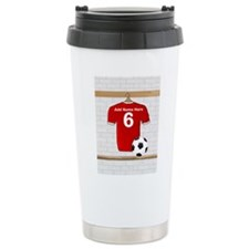 Red Customizable Soccer footb Travel Mug