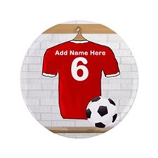 "Red Customizable Soccer footb 3.5"" Button"