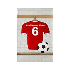 Red Customizable Soccer footb Rectangle Magnet (10