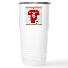 Red Customizable Soccer footb Ceramic Travel Mug