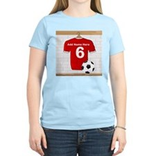 Red Customizable Soccer footb T-Shirt