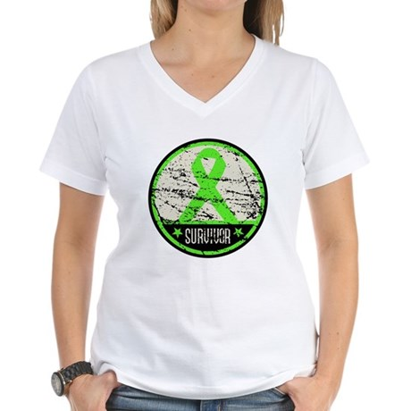 Survivor Circle Lymphoma Women's V-Neck T-Shirt