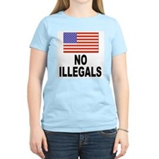 No Illegals Immigration (Front) Women's Pink T-Shi