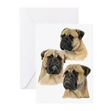 Three Bullmastiff Heads Greeting Cards (Pk of 20)