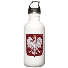 Polish Eagle Plaid Crest Water Bottle
