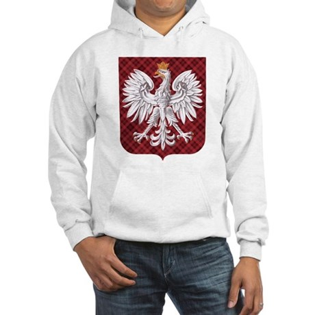 Polish Eagle Plaid Crest Hooded Sweatshirt