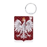 Polish Eagle Plaid Crest Aluminum Photo Keychain