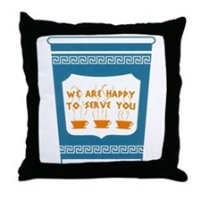 "NYC ""Blue Cup"" Throw Pillow"