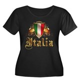 italian pride Women's Plus Size Scoop Neck Dark T-