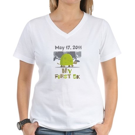 Personalized My First 5K Women's V-Neck T-Shirt
