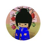 "Blue Kokeshi Kawaii doll 3.5"" Button"
