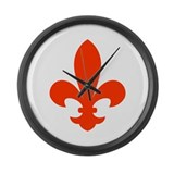 Fleur-de-lis red Large Wall Clock