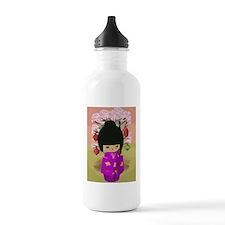 Cute kawaii pink dress kokeshi Water Bottle