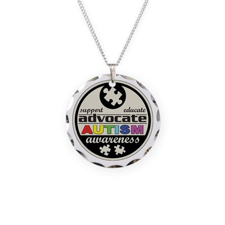 Advocate Autism Awareness Necklace Circle Charm