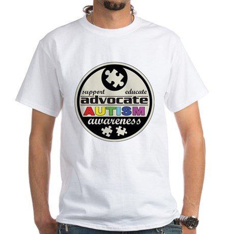 Advocate Autism Awareness White T-Shirt
