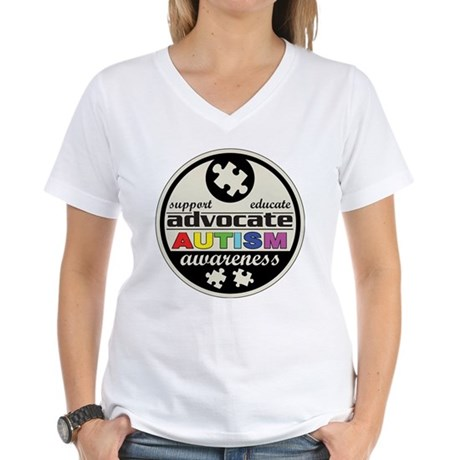 Advocate Autism Awareness Women's V-Neck T-Shirt