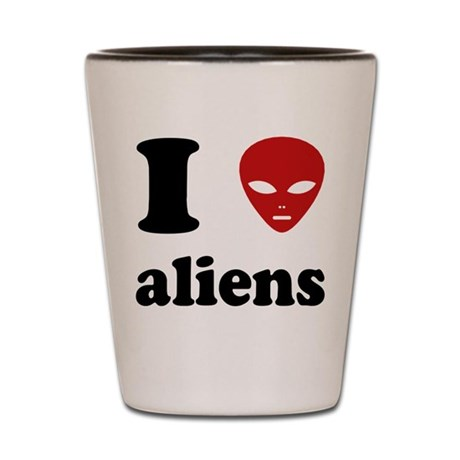 I Love Aliens Shot Glass