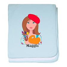 Lady Artist baby blanket