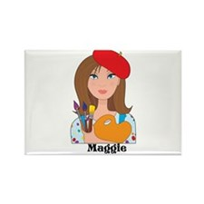 Lady Artist Rectangle Magnet