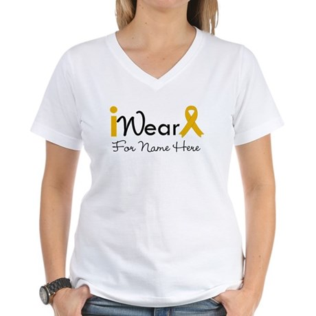 Personalize Appendix Cancer Women's V-Neck T-Shirt