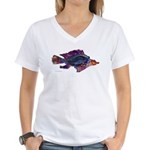 Fish Print Women's V-Neck T-Shirt