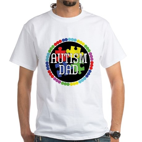 Autism Dad White T-Shirt