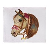 Arabian Horse Illustration Throw Blanket