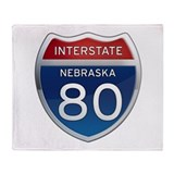 Interstate 80 - Nebraska Throw Blanket
