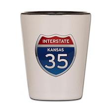 Interstate 35 - Kansas Shot Glass