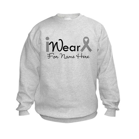 Personalize Brain Cancer Kids Sweatshirt