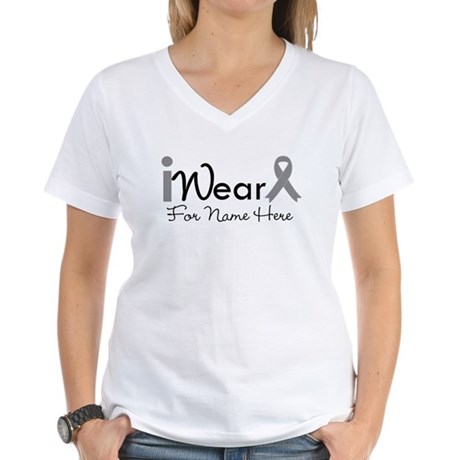 Personalize Brain Cancer Women's V-Neck T-Shirt