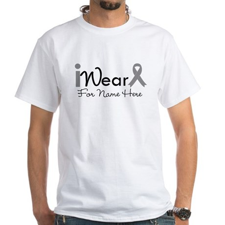 Personalize Brain Cancer White T-Shirt